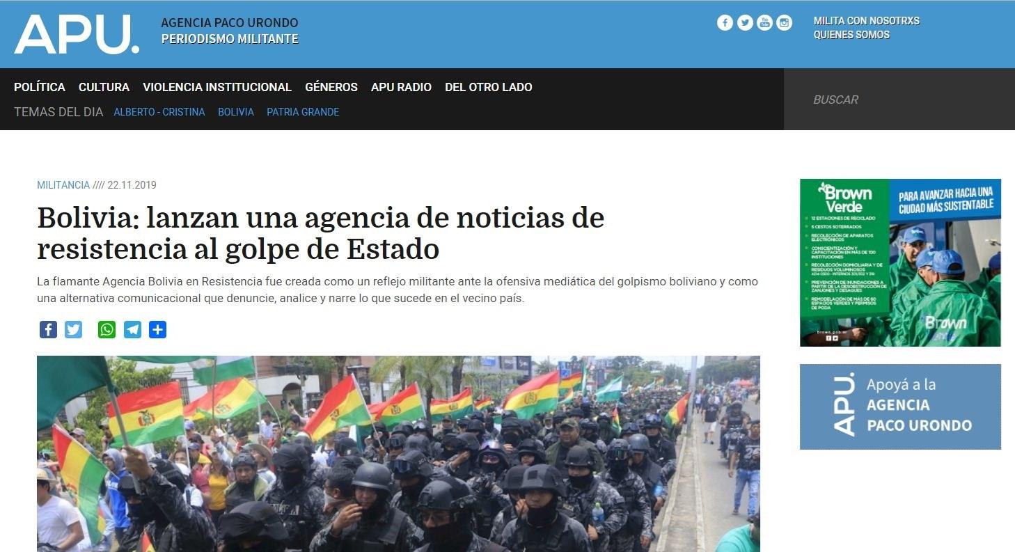 """وكالة """"بوليفيا المقاومة"""".. منصّة لمواجهة الانقلاب ضد موراليس"""