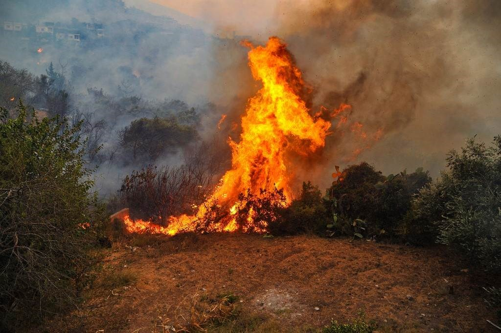 حريقً يلتهم غابة في محافظة اللاذقية السورية (أ ف ب).