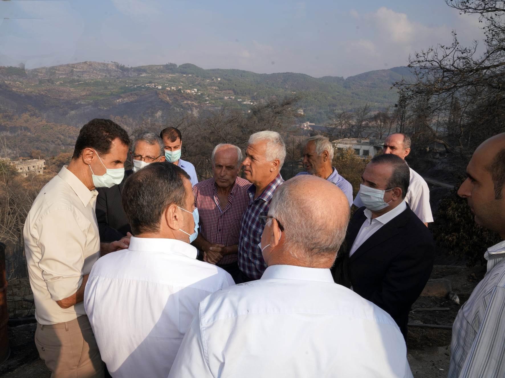 الرئيس الأسد يتفقد أهالي قرية بلوران للاطلاع على متطلباتهم