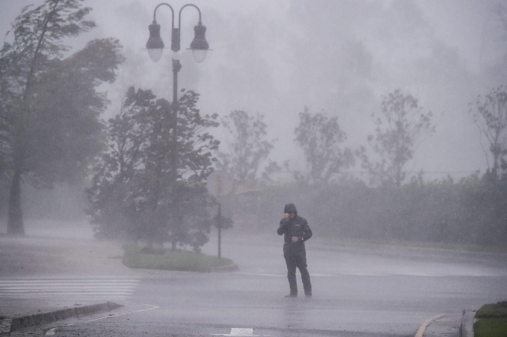 إعصار دلتا الذي وصل إلى بحيرة تشارلز لويزيانا في 9 أكتوبر 2020 (أ ف ب).