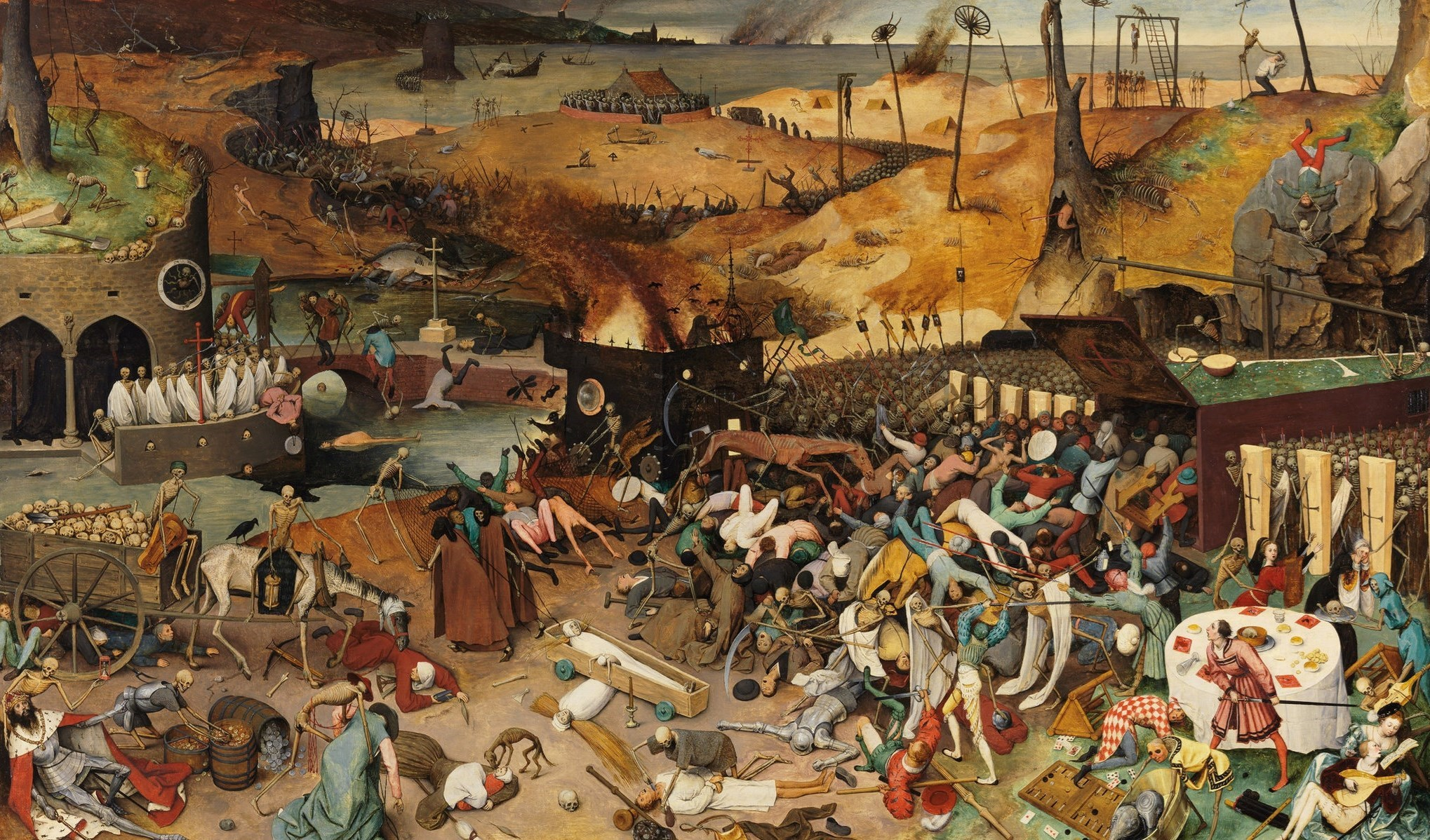 لوحة للفنان الهولندي بيتر بروغل من القرن السادس عشر عن وباء الطاعون الأسود.