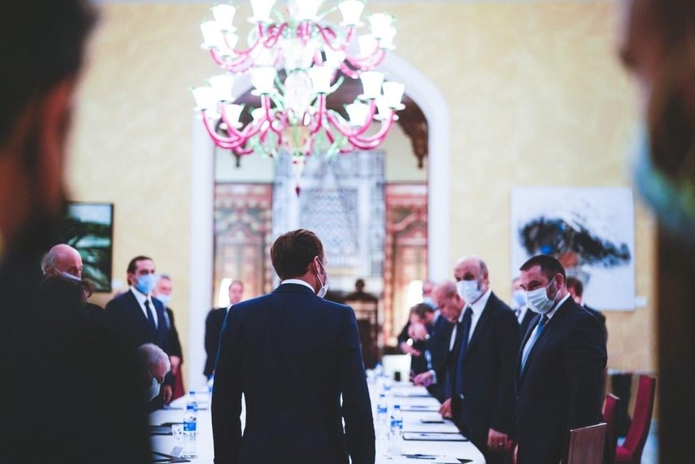 الرئيس الفرنسي إيمانويل ماكرون خلال لقائه المكونات السياسيّة اللبنانيّة - سبتمبر 2020