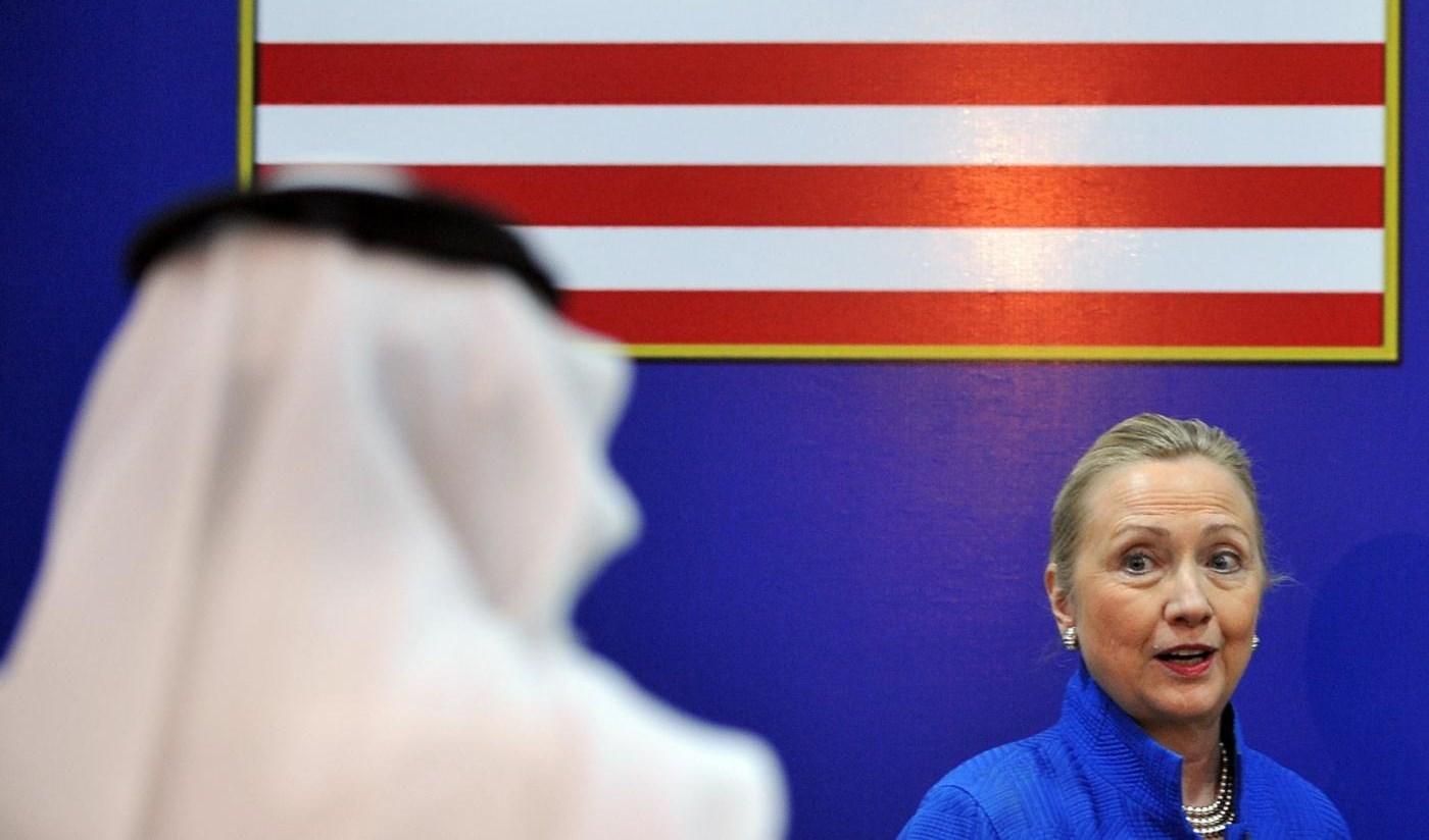 هيلاري كلينتون خلال حضورها المنتدى الأميركي الخليجي في الرياض عام 2012.