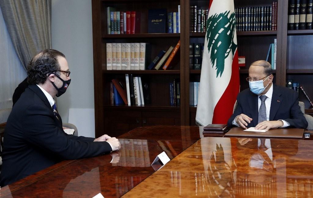شينكر خلال لقائه عون في القصر الجمهوري في بيروت - 16أكتوبر 2020