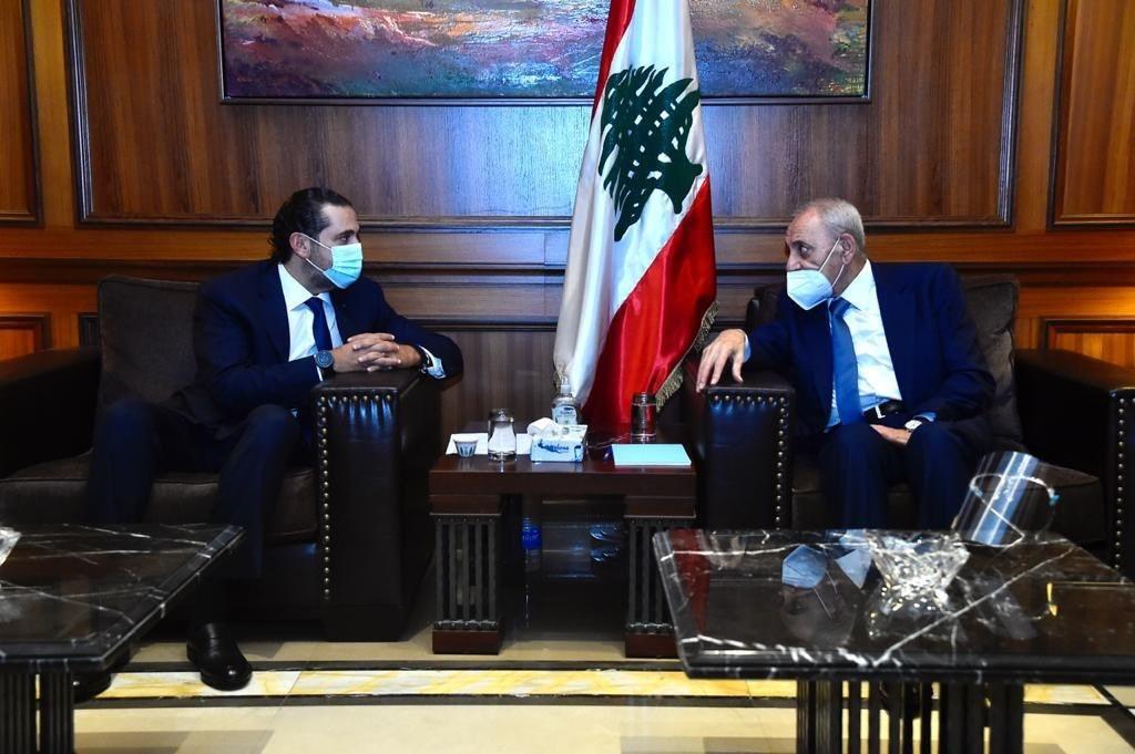 الحريري خلال لقائه بري مع انطلاق الاستشارات النيابيّة لتشكيل الحكومة اللبنانيّة - 23 أكتوبر 2020