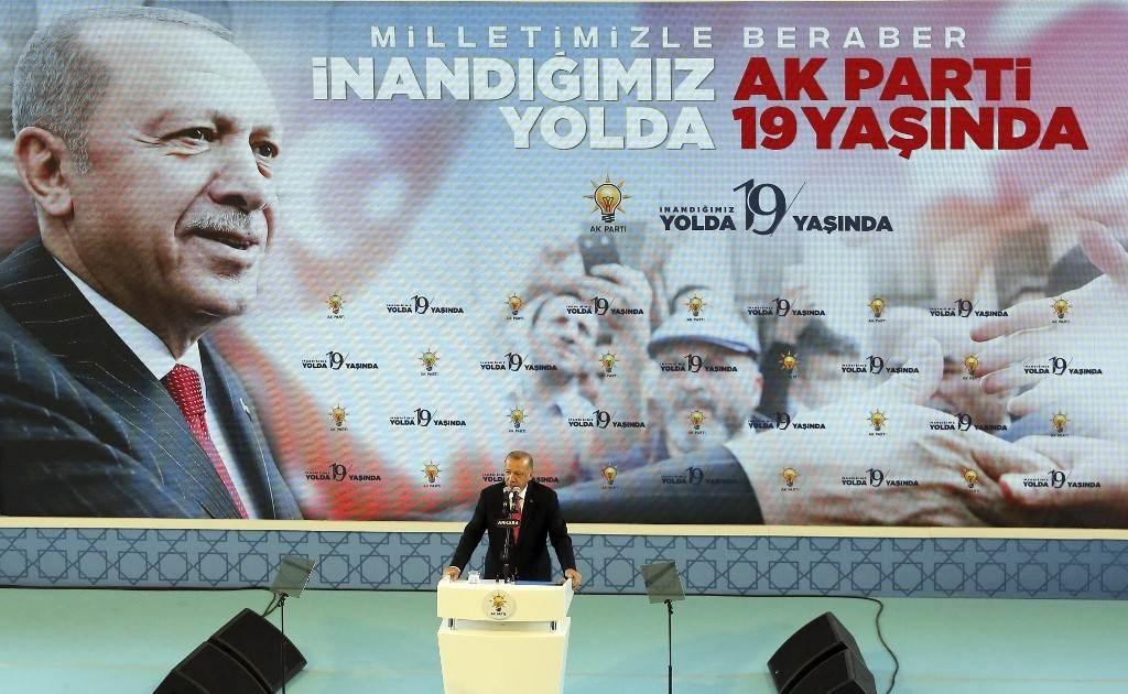 إردوغان خلال حفل أقيم بمناسبة الذكرى الـ19 لتأسيس حزب العدالة والتنمية في أنقرة (أ ف ب).