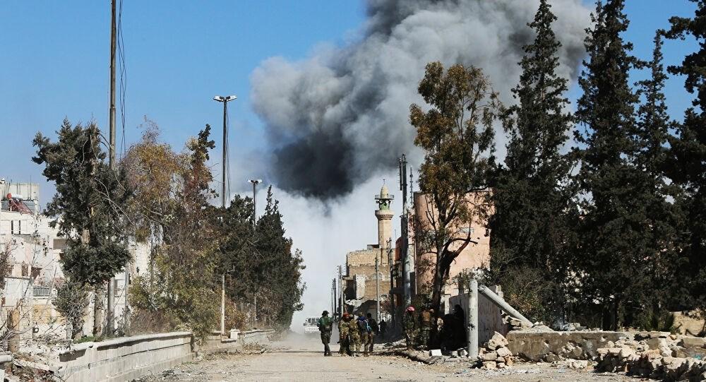 صورة من الانفجار الذي حصل في مدينة الباب السورية
