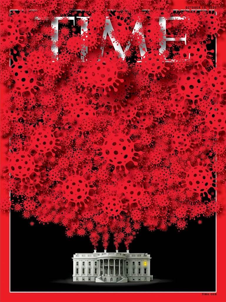 غلاف مجلة التايم بعددها الصادر هذا الأسبوع، ويظهر فيه البيت الأبيض ينشر كورونا
