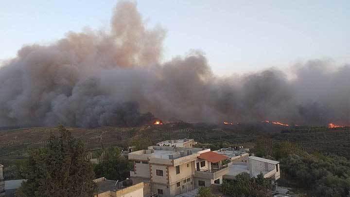 صورة مأخوذة من تويتر لحرائق سوريا