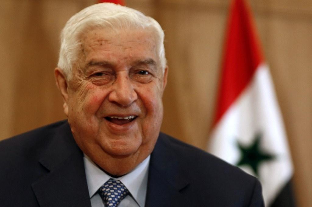 المعلم خلال مؤتمر صحفي حول العقوبات الأميركيّة المفروضة على بلاده في العاصمة دمشق - 23 يونيو 2020 (أ.ف.ب)