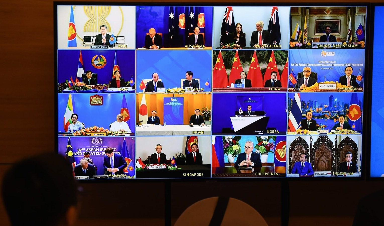 دول آسيا والمحيط الهادئ خلال قمة أونلاين للتوقيع على اتفاقية التجارة الجديدة.