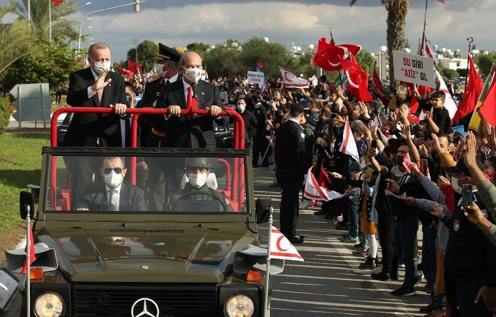 إردوغان في قبرص التركية (أ ف ب)