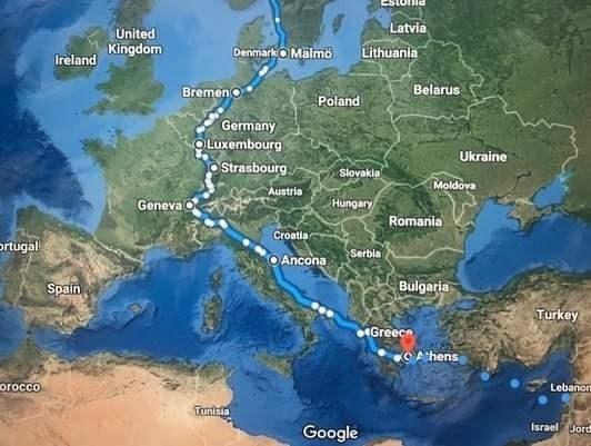 قام مارك بعبور الدول التالية: نروج، سويد، دنمارك، المانيا، فرنسا، سويسرا إيطاليا، يونان.