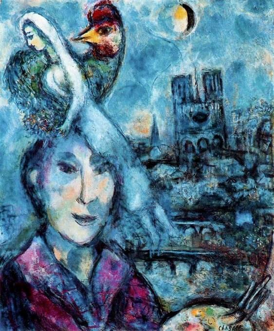 أعمال شاغال الباريسية تراوح بين تجزئة الأشكال المكعبة والبريق المشع لألوان