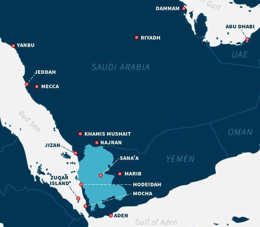 من المعروف أن أبعد نقاطٍ تمكّنت القوة الصاروخيّة اليمنية من استهدافها داخل المملكة هي مدينة الدمّام