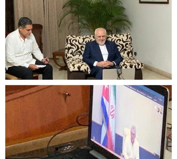 الرئيس الكوبي خلال محادثته مع محمد جواد ظريف