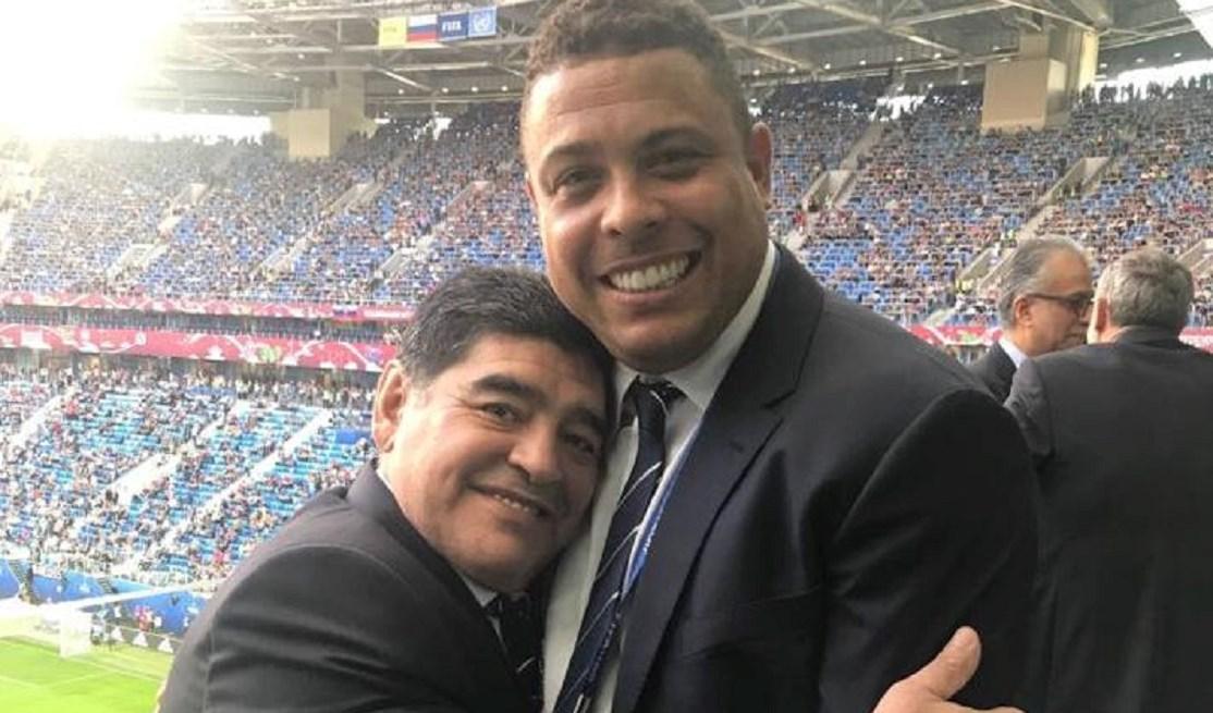 رونالدو ومارادونا في احدى مباريات كأس العالم روسيا 2018 (أرشيف)