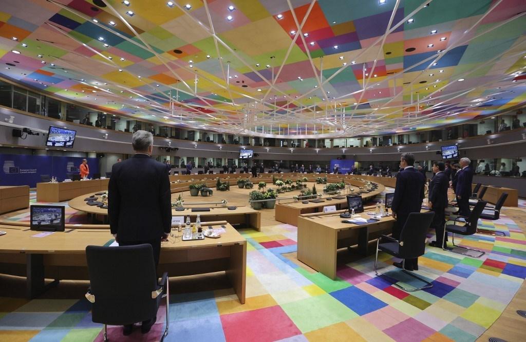 قادة الاتحاد الأوروبي خلال قمة الاتحاد في مبنى المجلس الأوروبي في بروكسل - 10 ديسمبر 2020 (أ.ف.ب)