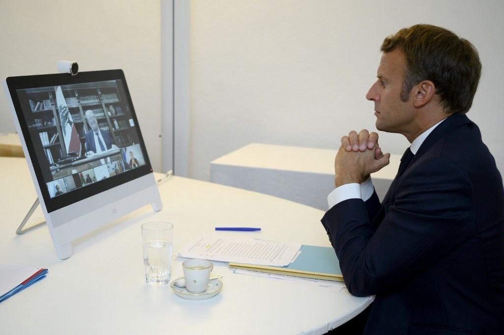 الرئيس الفرنسي إيمانويل ماكرون خلال مشاركته في المؤتمر الدولي لدعم لبنان في آب/ أغسطس 2020