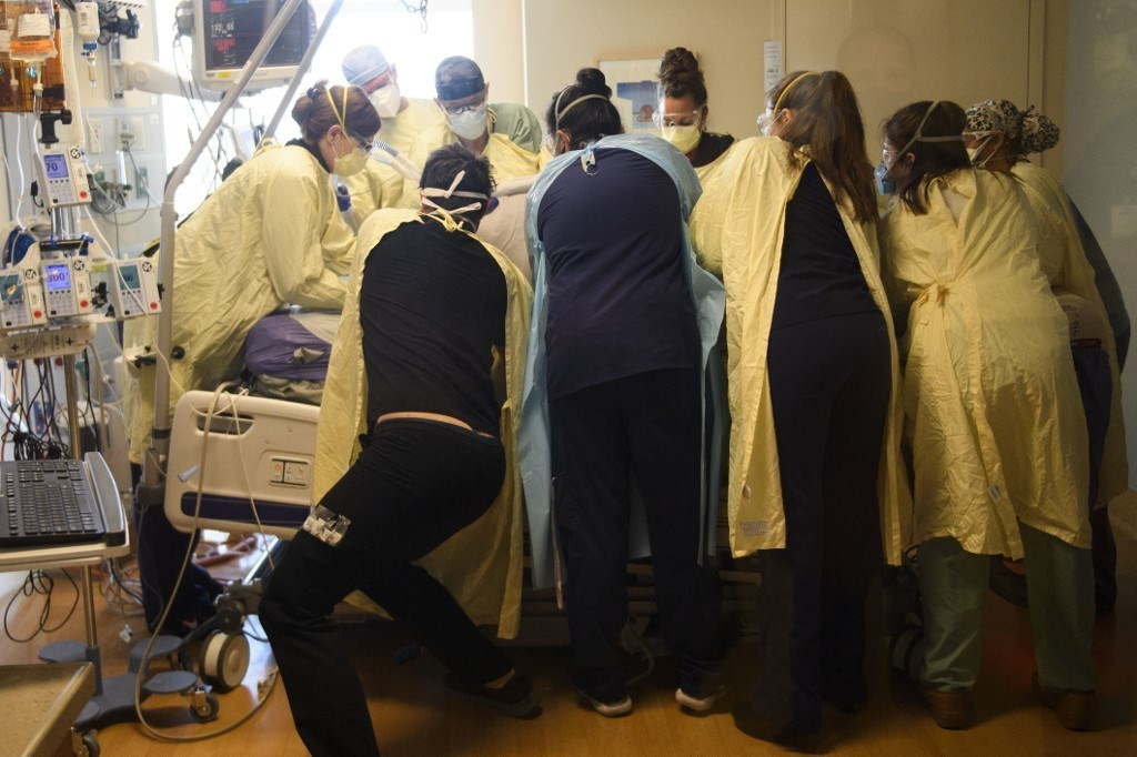 وحدة العناية المركزة لمرضى فيروس كورونا في نيفادا (أ ف ب).