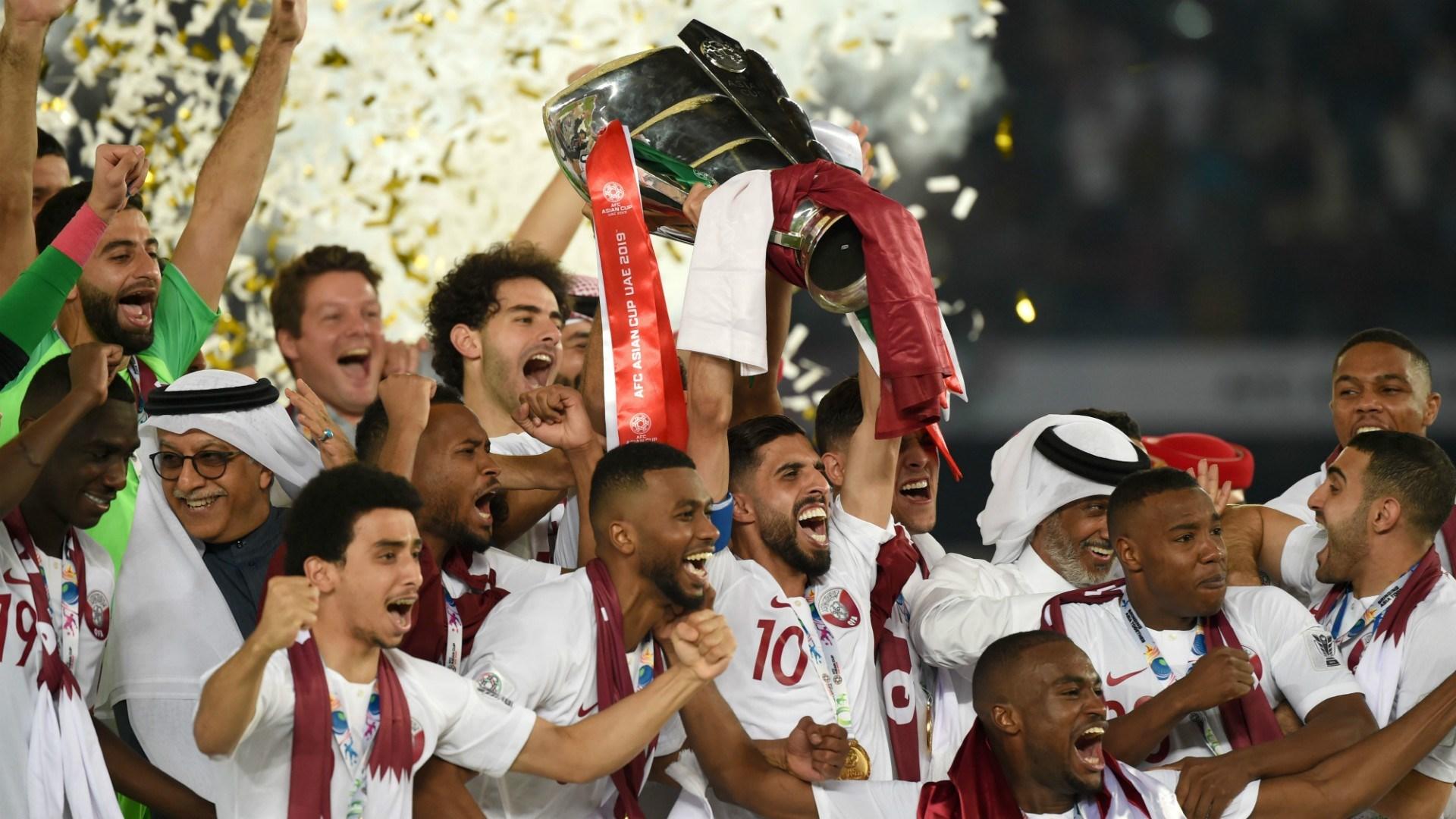 منتخب قطر أثناء تتويجه بطلاً لكأس الأمم الآسيوية (أرشيف)
