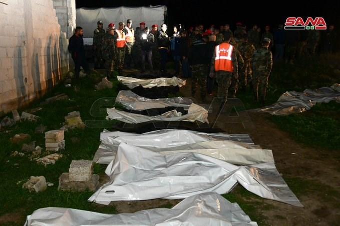 العثور على مقبرة تضم جثامين نحو 70 مدنياً قتلتهم الجماعات الإرهابية في غوطة دمشق