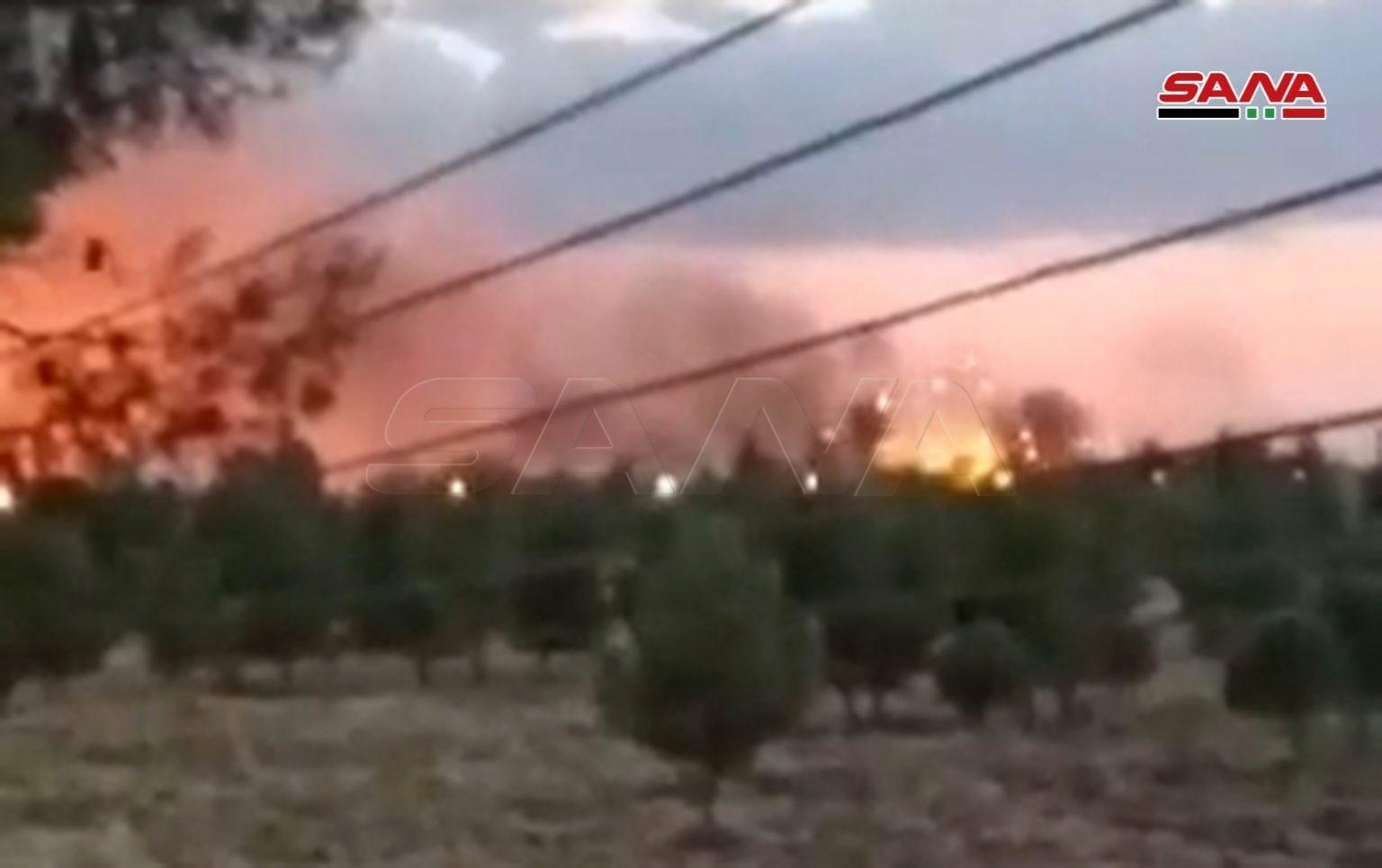 مستودع الذخيرة يحترق في بلدة رميلان بريف القامشلي