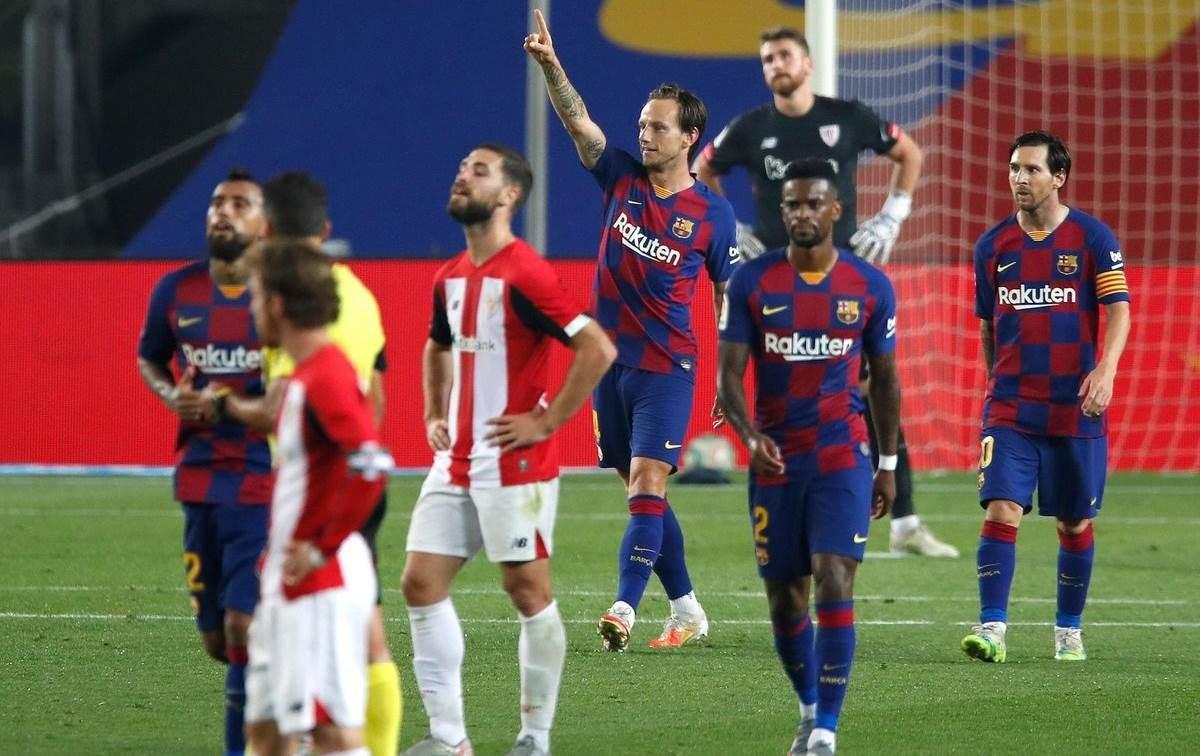 سجّل راكيتيتش هدف الفوز الوحيد لبرشلونة
