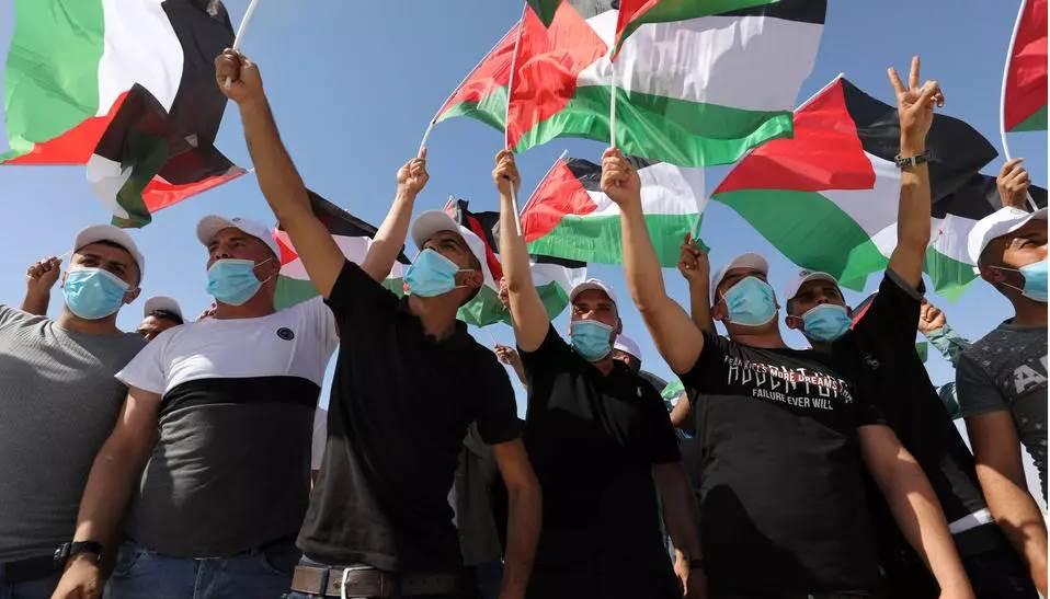 احتجاجات في أريحا ضد خطة الضم (أ ف ب)