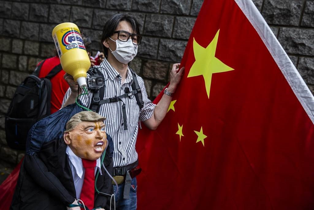 من مظاهرة أمام القنصليّة الأميركيّة في هونغ كونغ يوم 30 أيار/مايو 2020 (أ.ف.ب)
