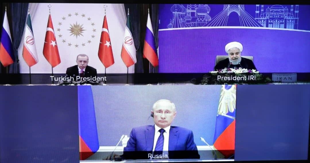 صورة من القمة الرئاسيّة الثلاثيّة للدول الضامنة لمسار أستانة التي عقدت عبر تقنية الفيديو