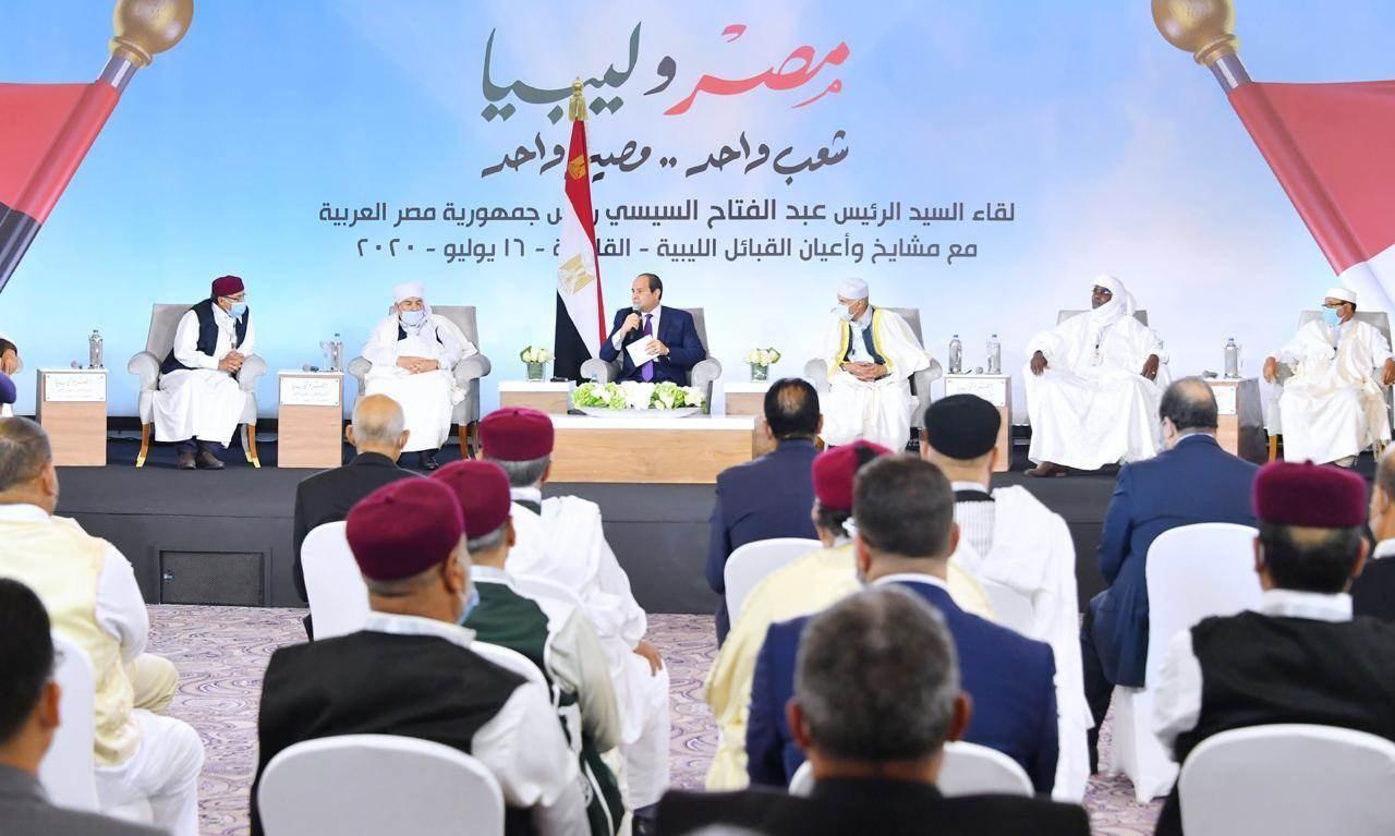 السيسي يلتقي القبائل الليبية.. ومطالبة بتدخل عسكري مصري