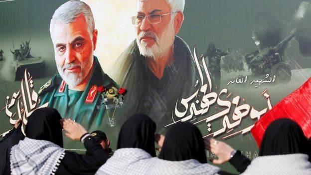 الشهيد الفريق قاسم سليماني ونائب رئيس هيئة الحشد الشعبي الشهيد أبو مهدي المهندس.
