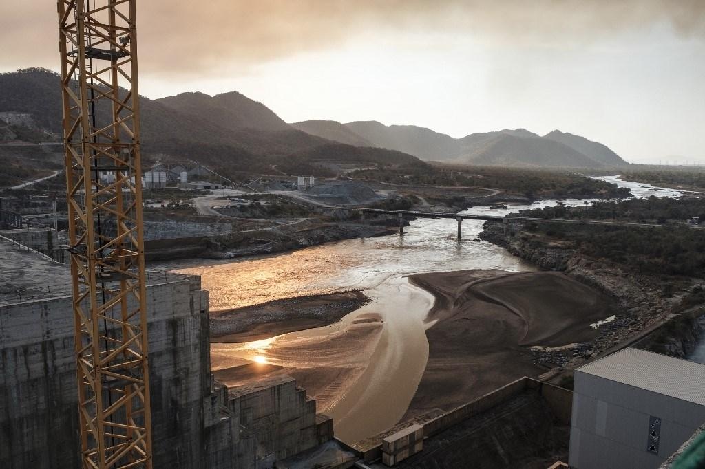 من أعمال بناء سد النهضة الإثيوبي نهاية العام 2019 (أ.ف.ب)