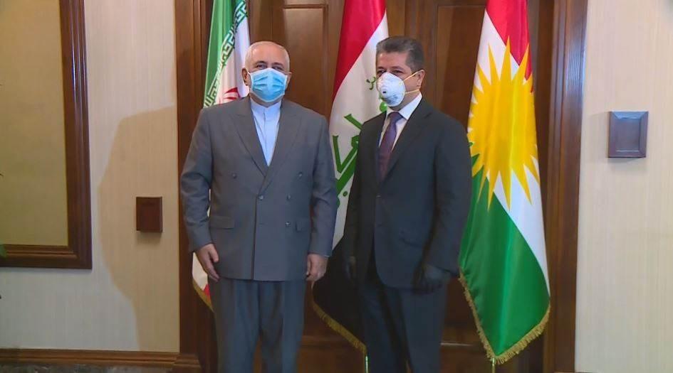وزير الخارجية الإيراني يبحث مع رئيس حكومة إقليم كردستان سبل تعزيز التبادل التجاري