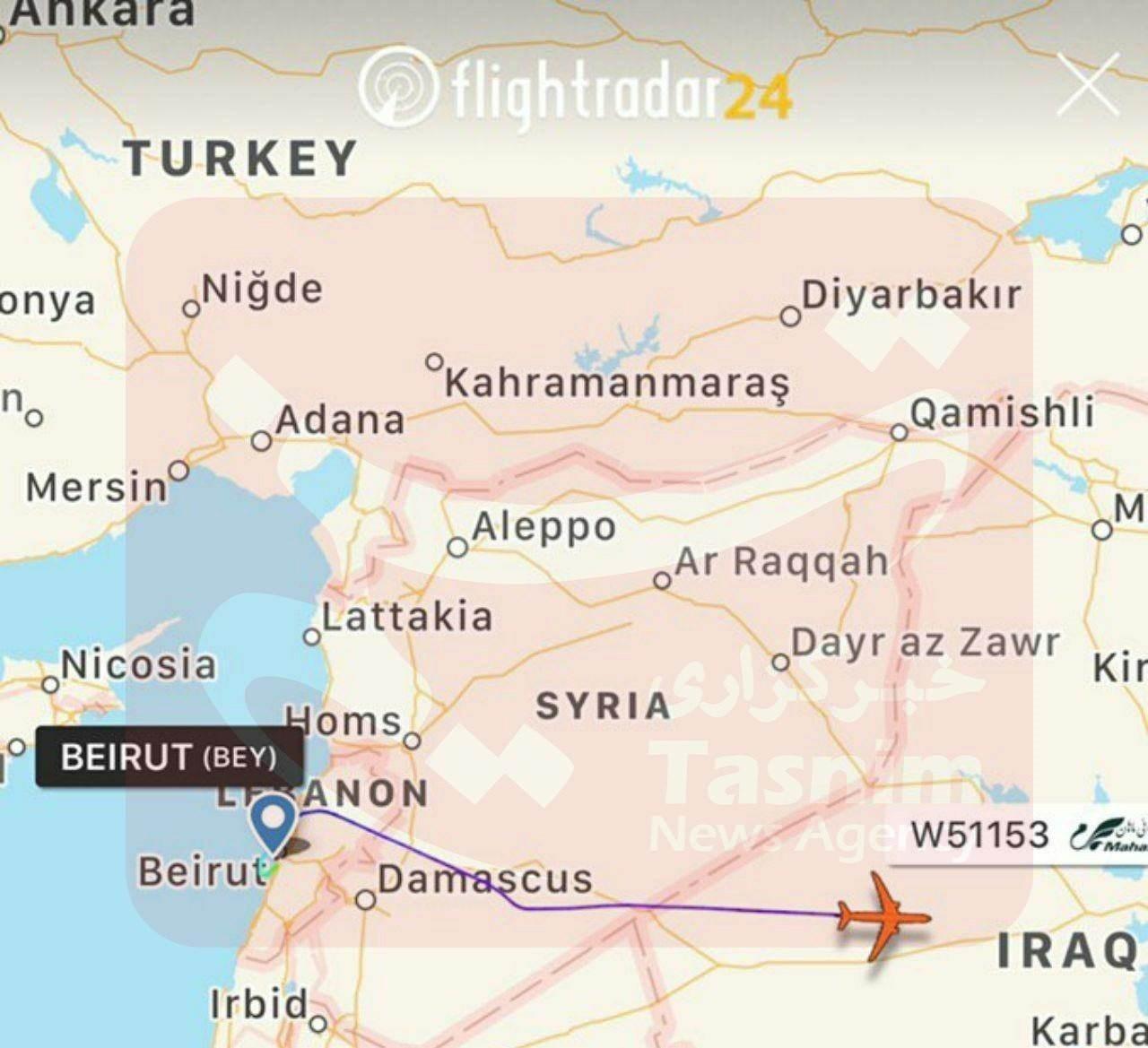 الطائرة الايرانية تحلق فوق التنف خلال عودتها