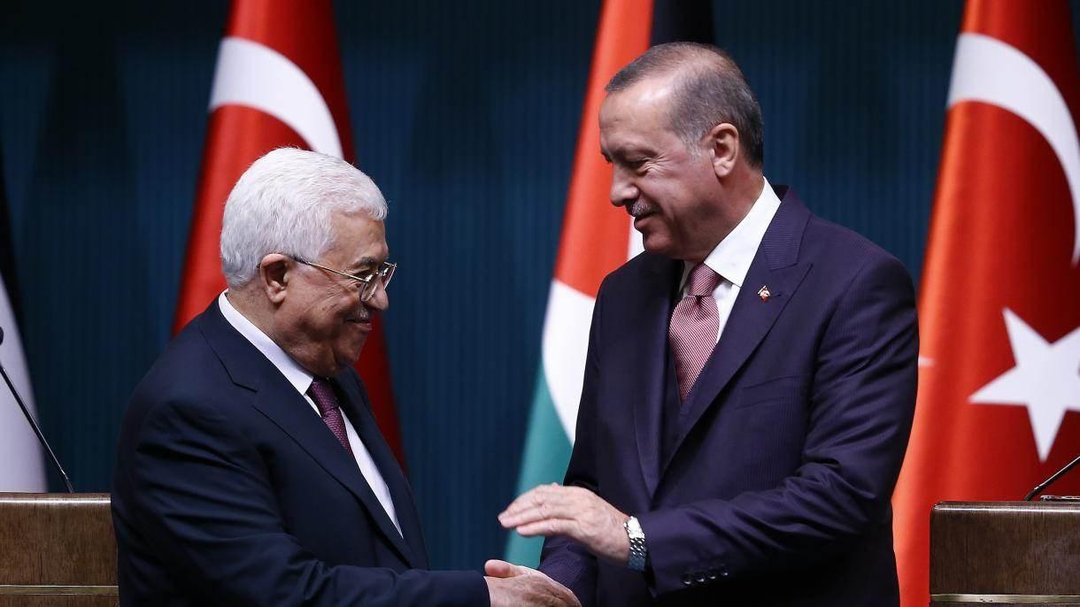 الرئيسين التركي رجب طيب إردوغان ونظيره الفلسطيني محمود عباس (أرشيف)