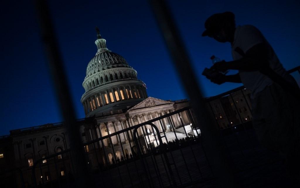 صورة من خارج مبنى الكونغرس الأميركي في واشنطن مساء 28 تموز/يوليو 2020 (أ.ف.ب)