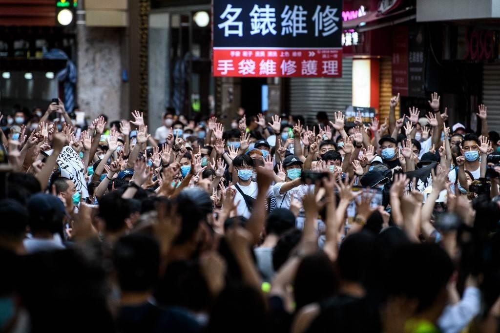 مسيرة ضدّ القانون الجديد للأمن القومي في هونغ كونغ (أ ف ب).