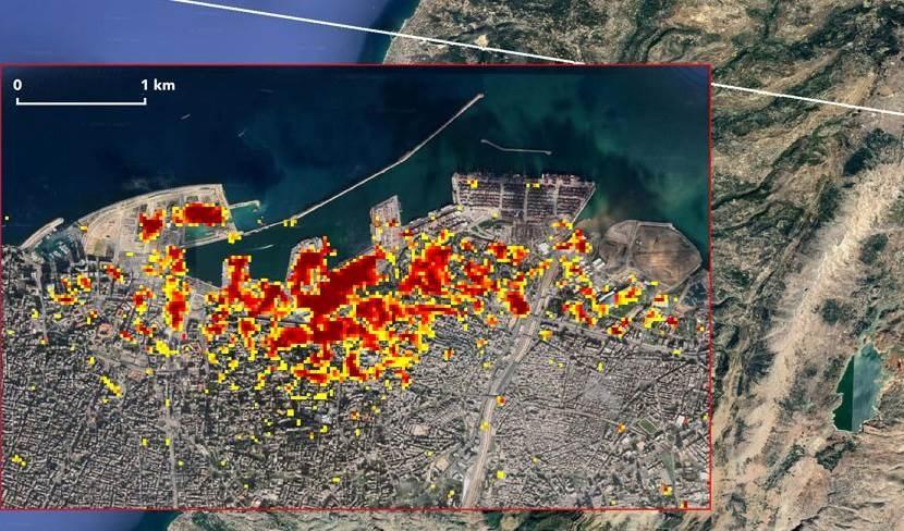 تظهر على الخارطة المناطق الأكثر تضرراً باللون الأحمر جراء انفجار بيروت