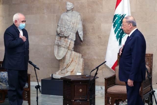الرئيس اللبناني ميشال عون ومحمد جواد ظريف