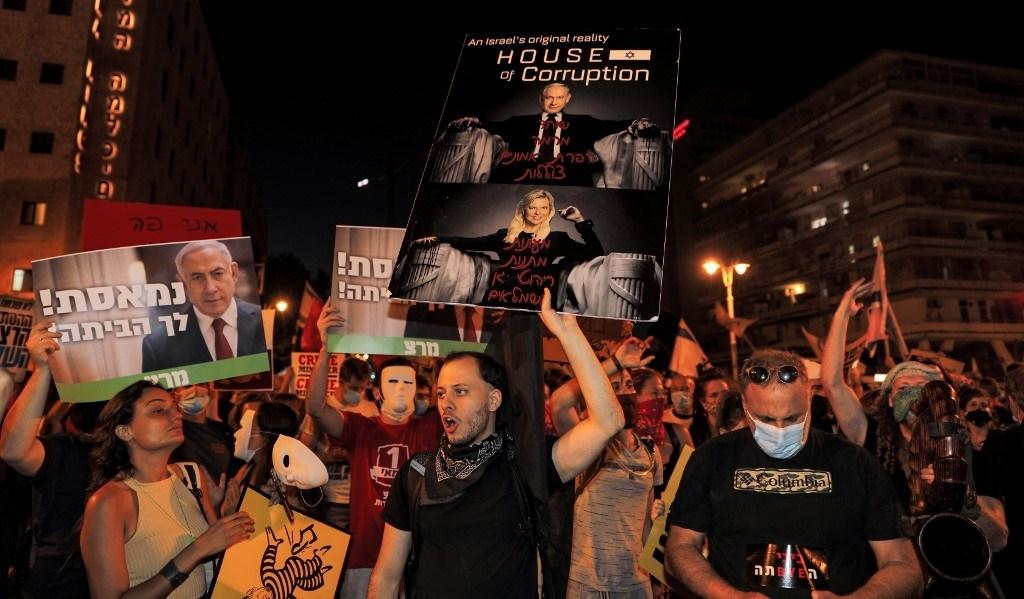 من المظاهرات ضد نتنياهو مساء السبت 1 آب 2020 في القدس المحتلة (أ.ف.ب)