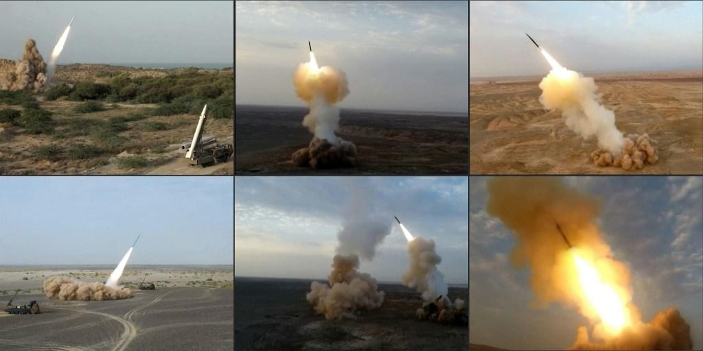 مزيج من الصور الملتقطة من مناورات الرسول الأعظم خلال يومها الأخير (التلفزيون الإيراني)