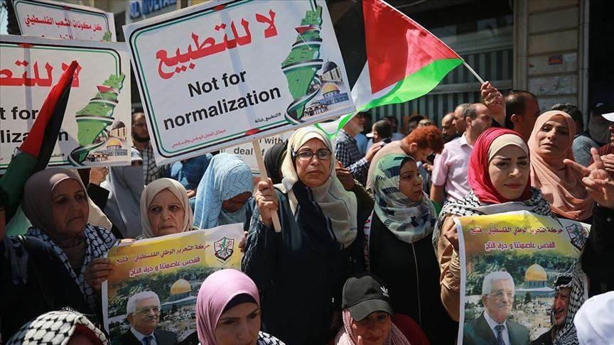 من التظاهرات الفلسطينية التي نددت بالتطبيع الإماراتي الإسرائيلي.