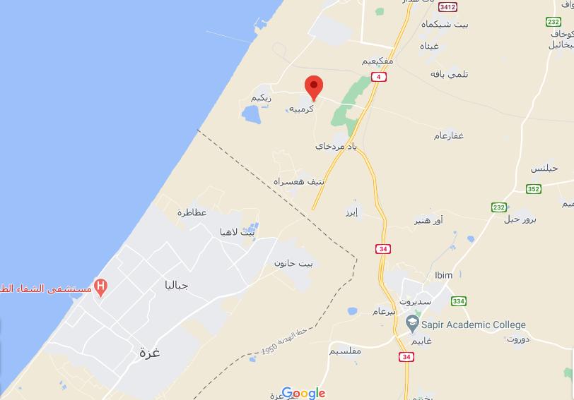 صورة تظهر موقع هربيا على الخريطة شمال قطاع غزة
