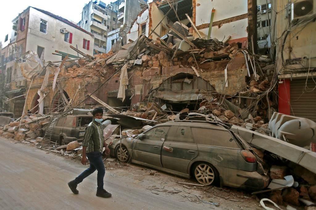 صور من انفجار بيروت أمس الثلاثاء (ا ف ب)