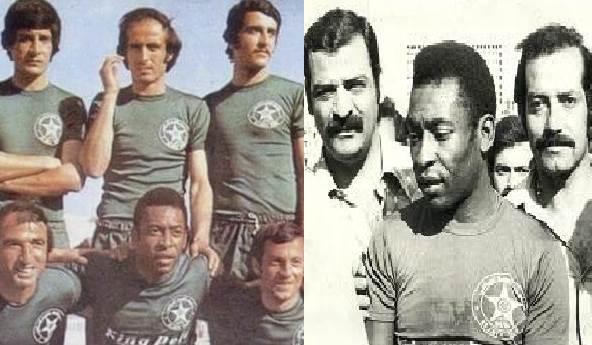 بيليه بقميص النجمة في ملعب المدينة الرياضية عام 1975