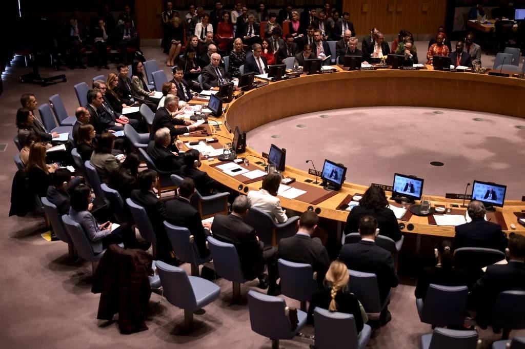 اجتماع لمجلس الأمن التابع للأمم المتحدة في مقر الأمم المتحدة في نيويورك (أ ف ب).