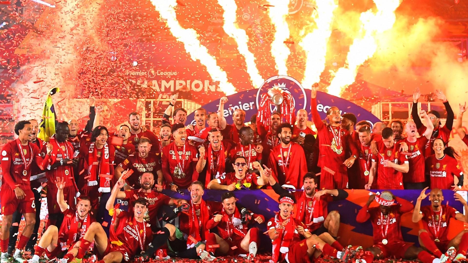 ليفربول في حفل تتويجه بلقب الدوري الإنكليزي الممتاز (أرشيف)