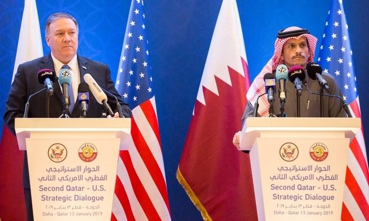 بومبيو ووزير الخارجية القطري في الحوار الاستراتيجي القطري الأميركي الثاني